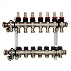 Гребенка для напольного отопления со встроенными регулирующими вентилями и ротаметрами, на 10 контуров