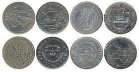 Открытие Канарских и Азорских островов,Мадейры набор из 4 монет 100 эскудо Портулия 1989