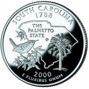 25 центов США 2000г - Южная Каролина, UNC - Серия Штаты и территории