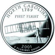 25 центов США 2001г - Северная Каролина, UNC - Серия Штаты и территории