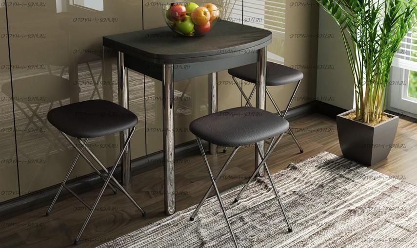 Обеденная группа: стол Лион мини + табуреты Экстра коричневые