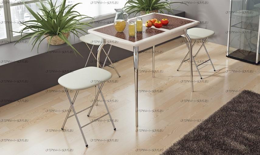 Обеденная группа: стол Стамбул мини СМ-220.01.1 + табуреты Экстра беж