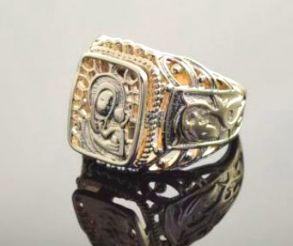 Позолоченный ажурный перстень с образом Богородицы (арт. 250146)