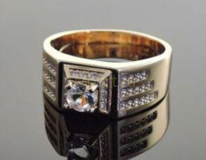 Позолоченное кольцо с искусственными бриллиантами (арт. 250148)