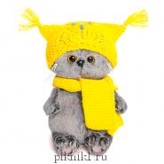 Котик Басик Беби в шапке-сова и шарфе