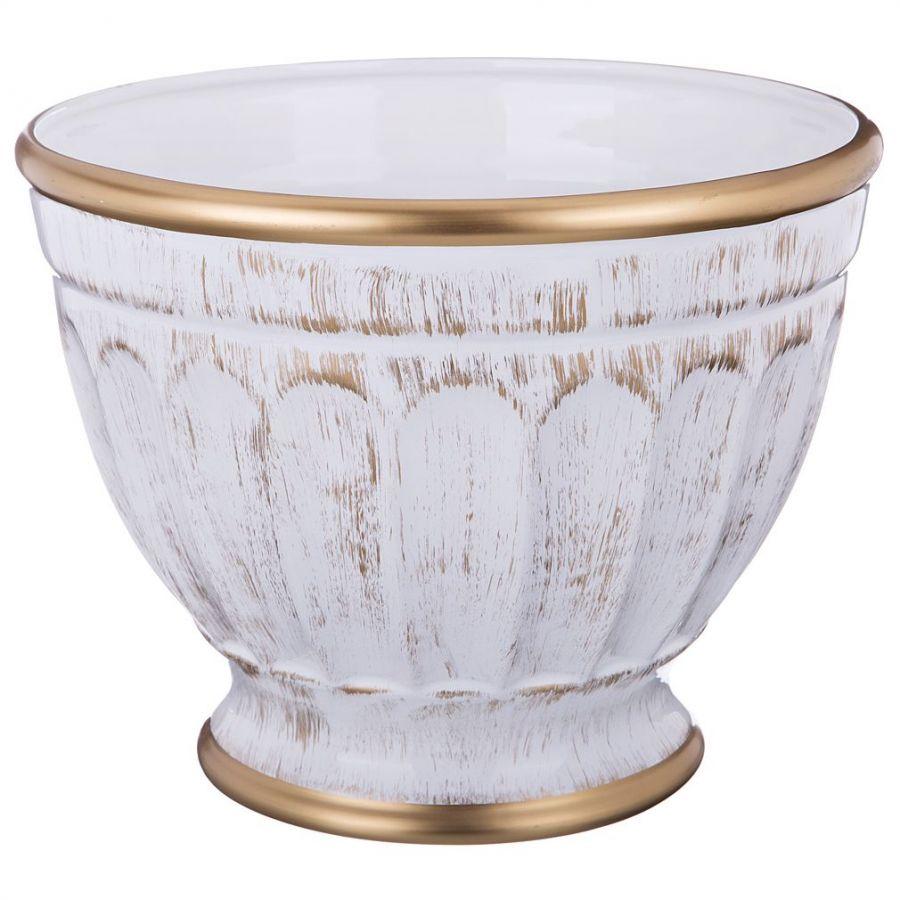 """Кашпо среднее """"Элеганс"""", белое с золотом 29 см., h=23 см."""