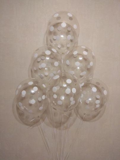 Горошек на прозрачном латексные шары с гелием