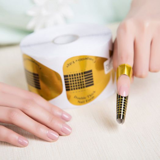 ФОРМЫ для ногтей широкие 500 шт, золото