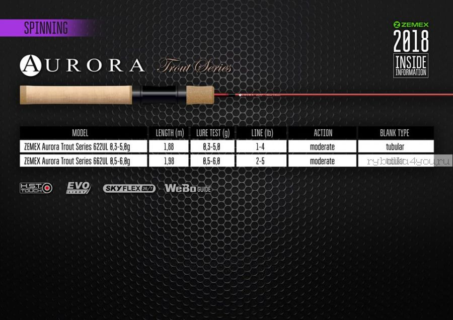 Спиннинг Zemex Aurora 622UL 1,88 м / тест  0,3-5гр