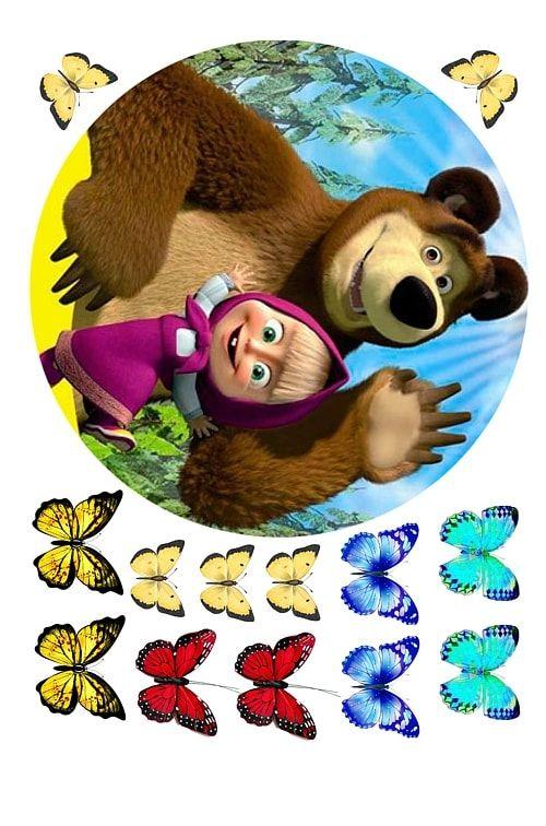 Вафельная картинка Маша и медведь (1)