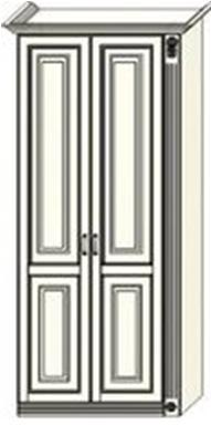 Шкаф двухдверный  Ферсия с одной пилястрой справа, для платья и белья (модуль 25)