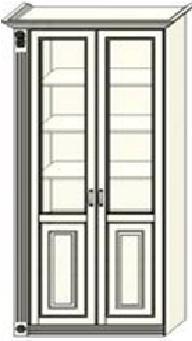 Шкаф-витрина двухдверный Ферсия с одной пилястрой слева, два отделения, верхние полки стекло (модуль 30)