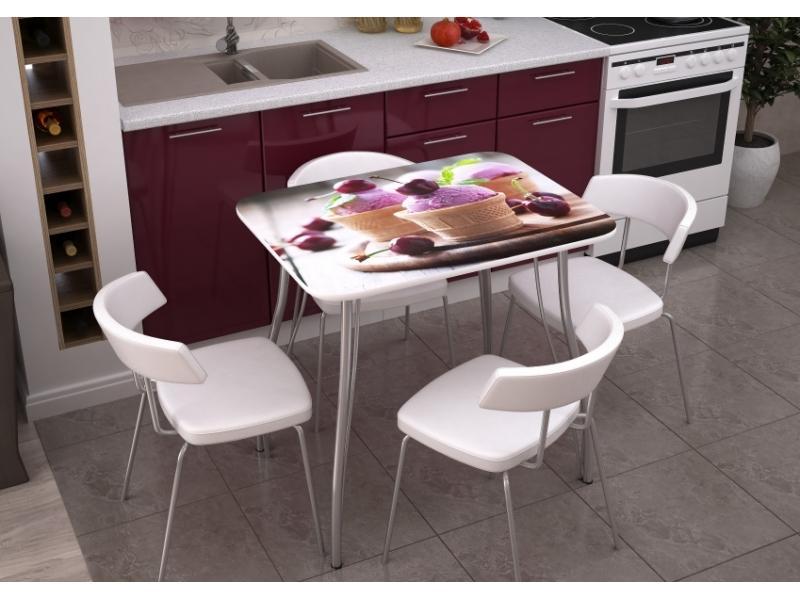 Кухонный стол с фотопечатью Десерт