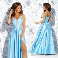 Голубое платье в пол с разрезом