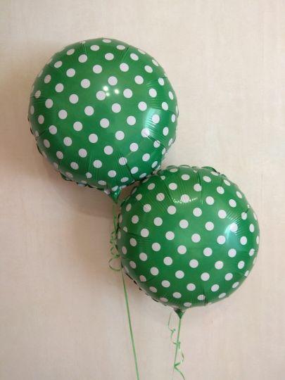 Зелёный круг в горошек шар фольгированный с гелием