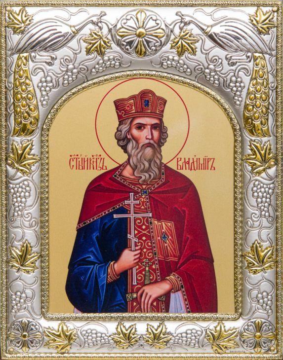 Серебряная икона Владимир  (14*18см., гальванопластика, Россия-Италия)