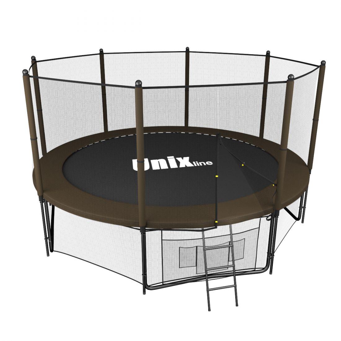 Батут с внешней защитной сеткой - Unix Line 12FT (3,66м), цвет черно-коричневый