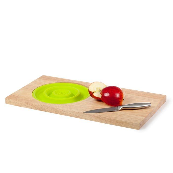 Разделочная доска с силиконовым дуршлагом (Цвет: Зеленый)