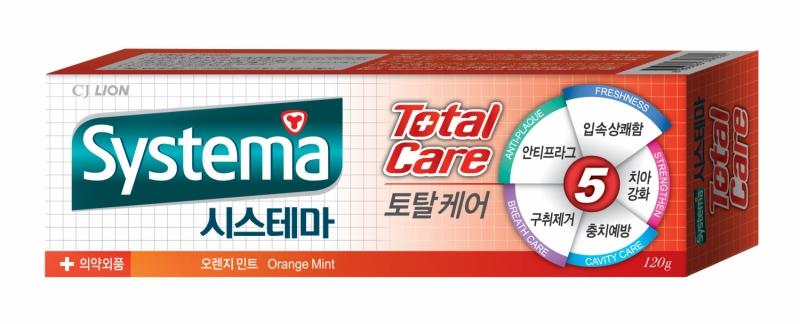 """CJ Lion Зубная паста """"Systema"""" для полной защиты, с ароматом апельсина и мяты, 120 гр"""