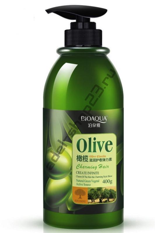 "Bioaqua - Защитный эластин для укладки волос ""Олива"", 400 гр"