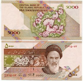 Банкнота 5000 риалов 1993 год Иран
