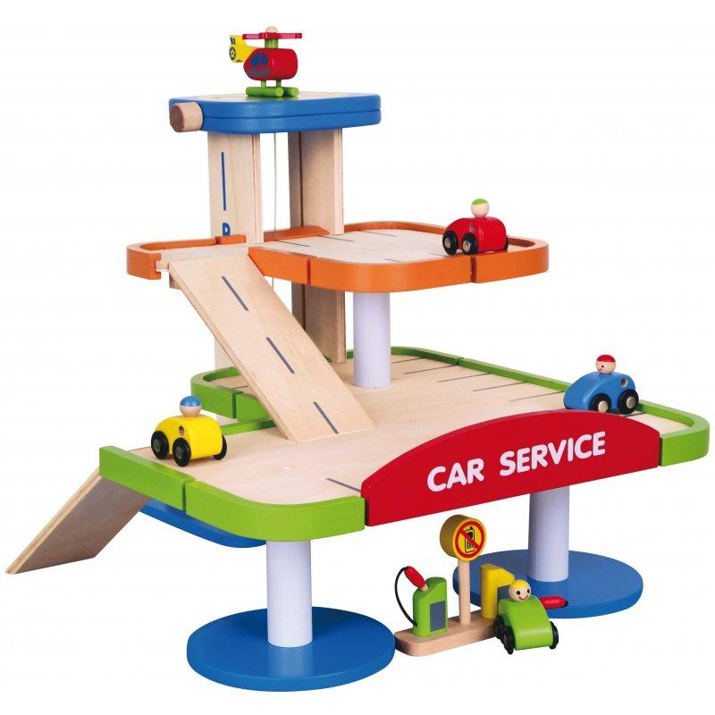 Двухуровневый гараж с аксессуарами Car Service Viga Toys 59690