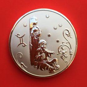 Медальон знаки зодиака Близнецы Серебро покрытие 30 мм