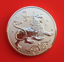 Медальон знаки зодиака Лев Серебро покрытие 30 мм