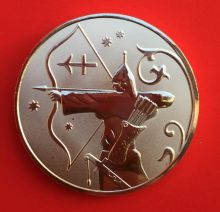 Медальон знаки зодиака Стрелец Серебро покрытие 30 мм
