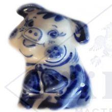 Сувенир Гжель Символ Года 2019 ОПТОМ Магнит Поросенок 5,5x3,2x1,5 см