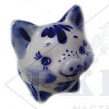 Сувенир Гжель Символ Года 2019 ОПТОМ - Свинья Маруся 6,5x5x3,5 см