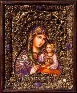Икона Божьей Матери Неувядаемый цвет 19 х 23 см. в киоте, роспись по дереву, самоцветы
