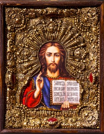 """Икона Иисуса Христа """"Господь Вседержитель"""" 14 х 19 см. в киоте, роспись по дереву, самоцветы"""