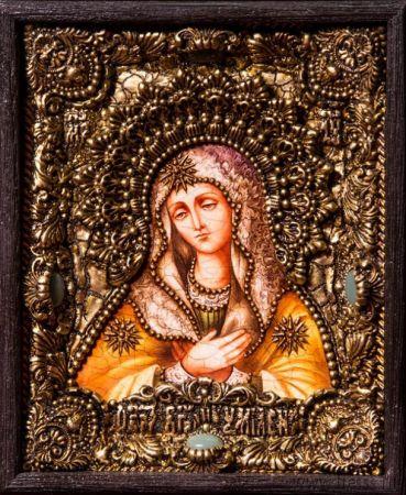 Икона Божьей Матери Умиление 19 х 23 см. в киоте, роспись по дереву, самоцветы