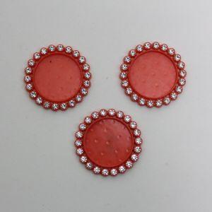 Крышка со стразами, пластик, Двнеш. 35мм, Двнутр. 25мм, цвет: 07 красный (1уп = 10шт)