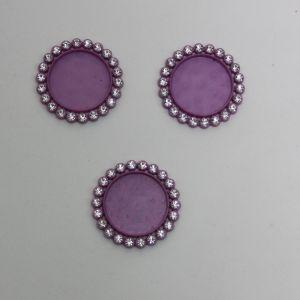 Крышка со стразами, пластик, Двнеш. 35мм, Двнутр. 25мм, цвет: 22 фиолетовый (1уп = 10шт)