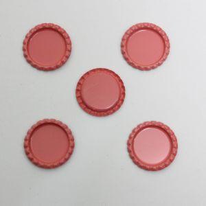 Крышка, металл, Д.вн. 25 мм, Д.наруж. 31 мм, цвет №А15 розовый (1уп = 24шт)