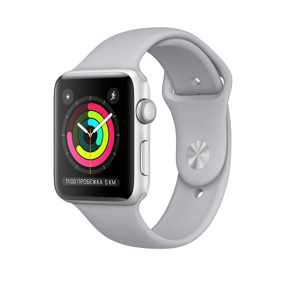 Apple Watch 38mm S3 Корпус из серебристого алюминия, спортивный ремешок дымчатого цвета