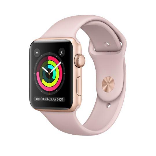 Apple Watch 38mm S3 Корпус из золотистого алюминия, спортивный ремешок цвета «розовый песок»