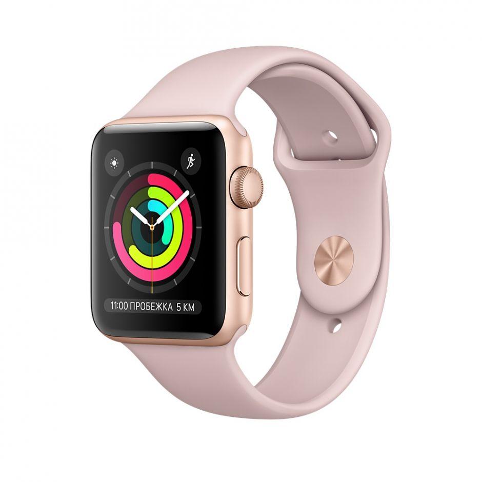 Apple Watch 42mm S3 Корпус из золотистого алюминия, спортивный ремешок цвета «розовый песок»