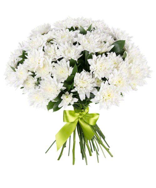Букет из хризантем «Белый ангел»