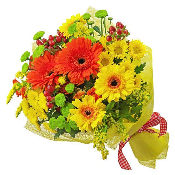 Оригинальный букет из хризантем и гербер «Солнечный день»