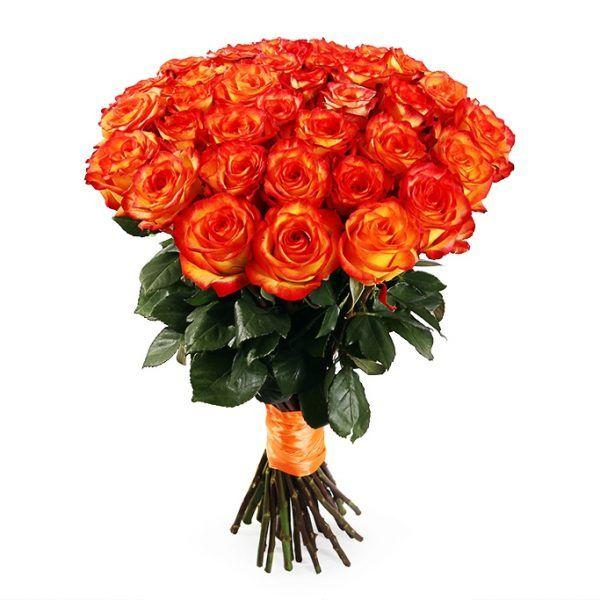 Букет из огненно-оранжевых роз «Пламя»