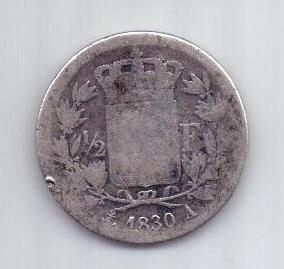 1/2 франка 1830 г. Франция