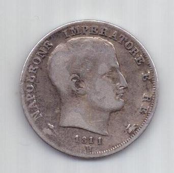 1 лира 1811 г. Наполеон l . Италия. Франция