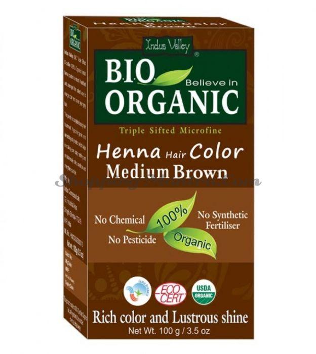 Натуральная краска для волос светло-коричневый Индус Веллей   Indus Valley Medium Brown Henna Hair Color