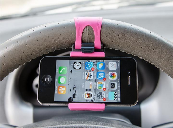 Держатель для телефона на руль (Цвет: Розовый)