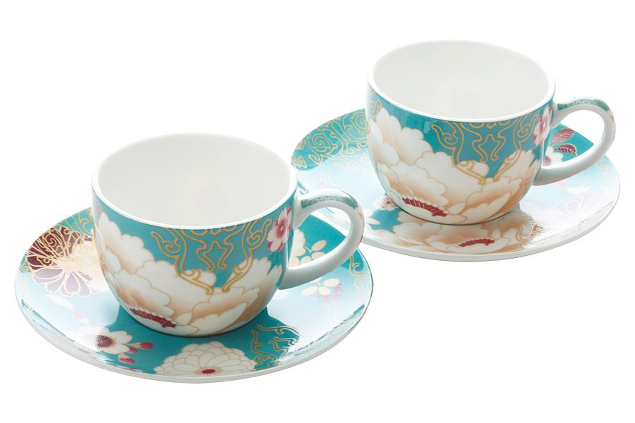 """Набор: 2 чашки с блюдцами """"Кимоно"""" (бирюза), 0.1 л, подарочная упаковка"""