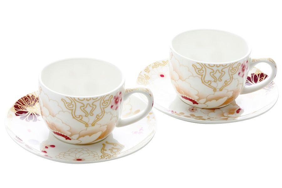 """Набор: 2 чашки с блюдцами """"Кимоно"""" (белый), 0.1 л, подарочная упаковка"""