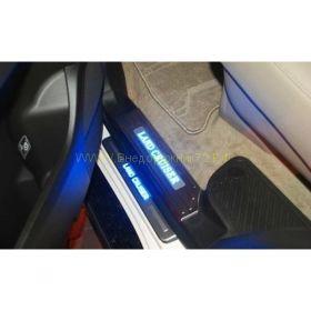 Накладки на пороги с подсветкой (Тип 5 Узкие) для Toyota Land Cruiser 200